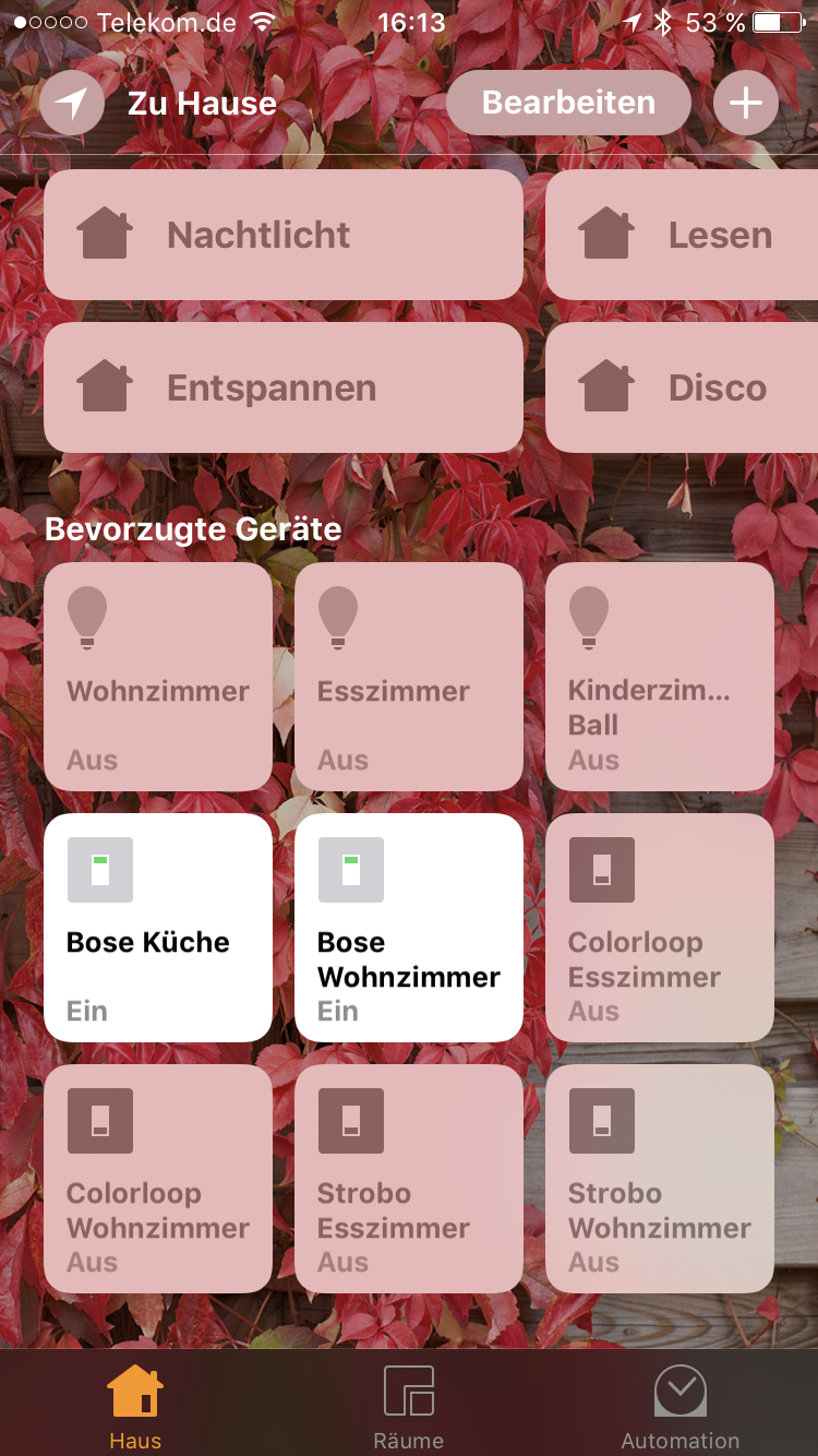 hue colorloop und bose soundtouch mit dem raspberry pi und homebridge in apple homekit. Black Bedroom Furniture Sets. Home Design Ideas